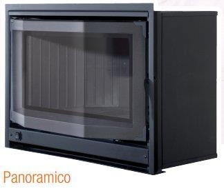Inserto a legna mod. CRYSTAL PANORAMICO  ventilato  12,8 Kw.