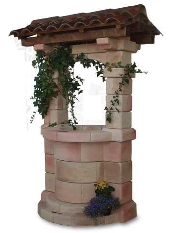 Pozzo in cemento colorato brenta con tetto for Pozzi finti per giardino