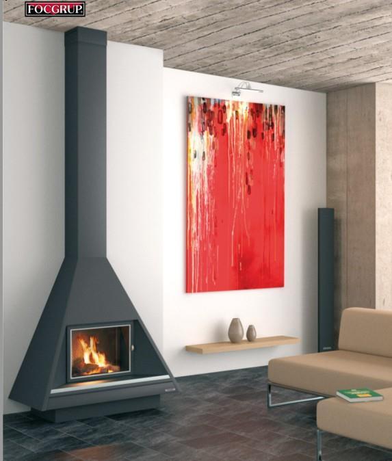 Caminetti metallo a parete design moderno minimalista for Camino a legna moderno