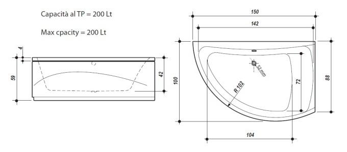 Vasche idromassaggio negozio vasche idro ark metaltech - Vasca bagno dimensioni ...