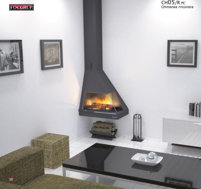 Camino metallo angolo con vetro design moderno for Piccolo caminetto