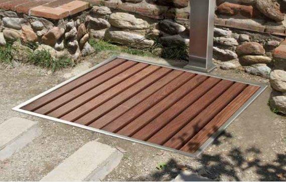 Piatto doccia da giardino in acciaio inox e legno - Minipiscina giardino ...